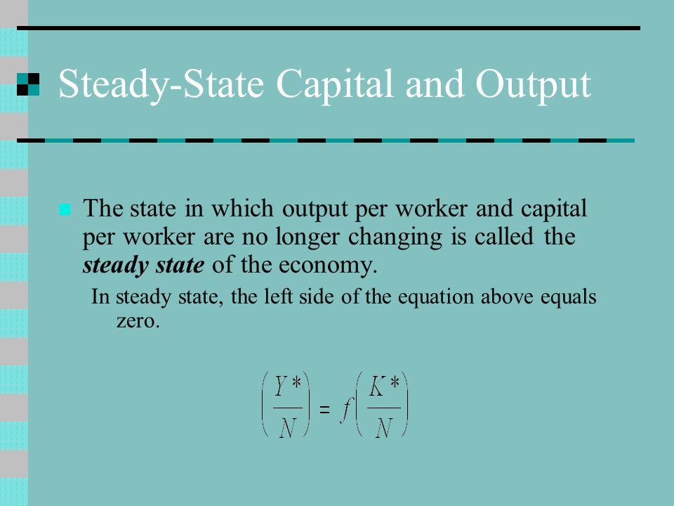 Steady-State Capital and Output