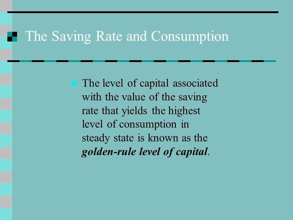 The Saving Rate and Consumption
