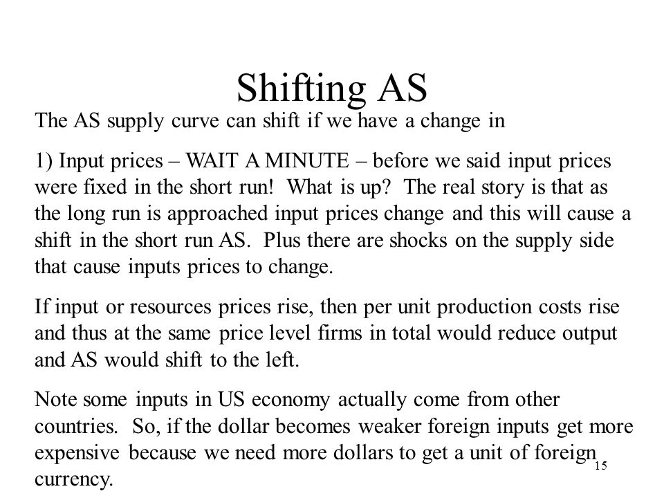 Shifting AS The AS supply curve can shift if we have a change in