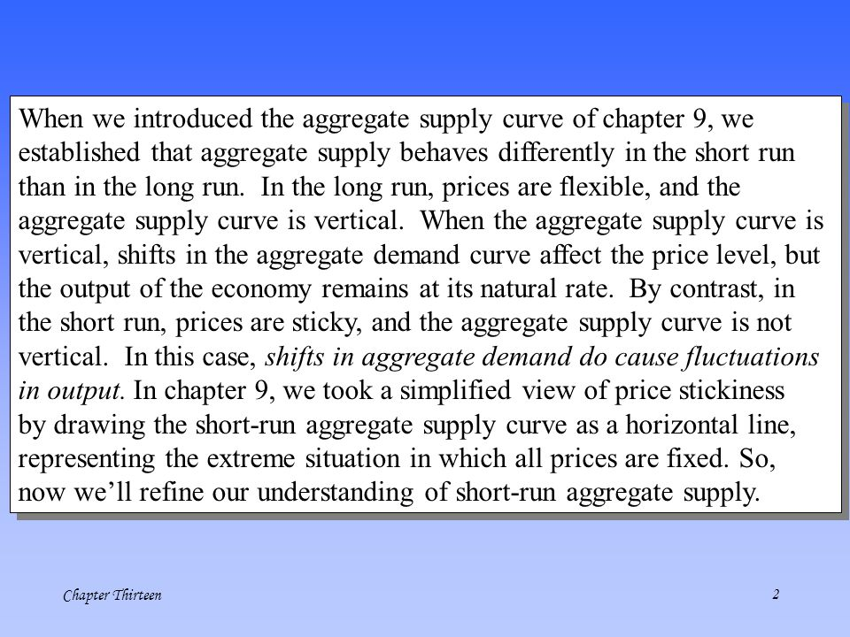 When we introduced the aggregate supply curve of chapter 9, we