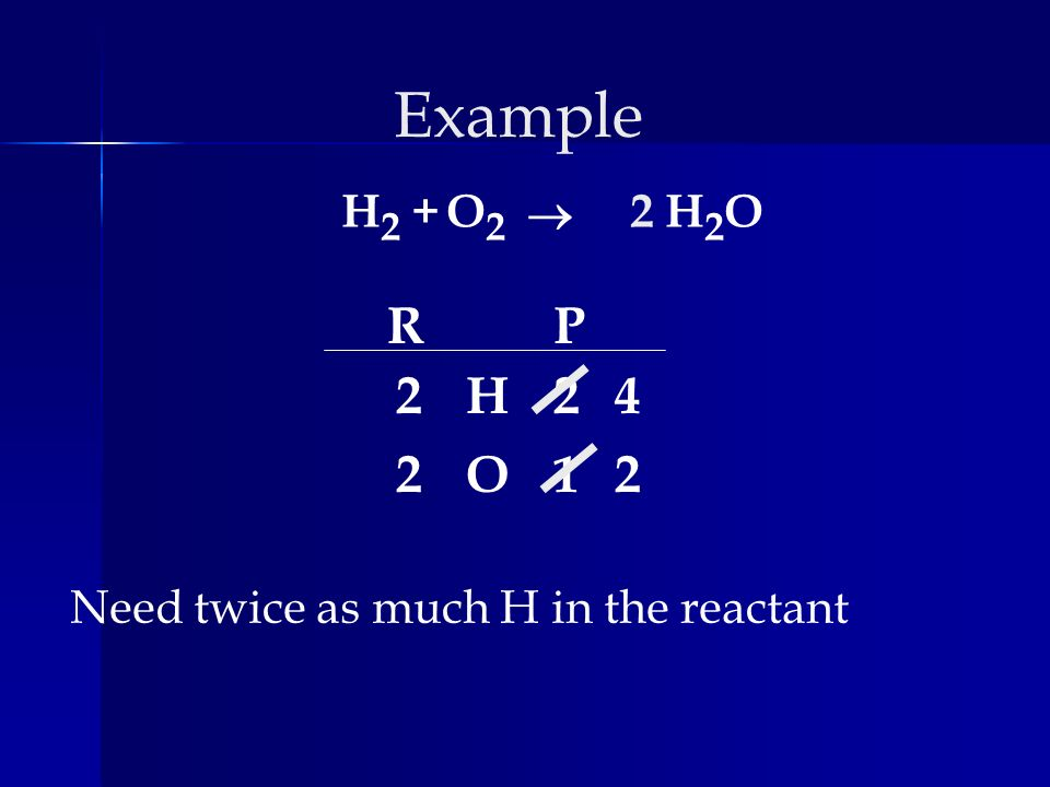 Example H2 + O2 ® 2 H2O R P 2 H 2 4 2 O 1 2 Need twice as much H in the reactant