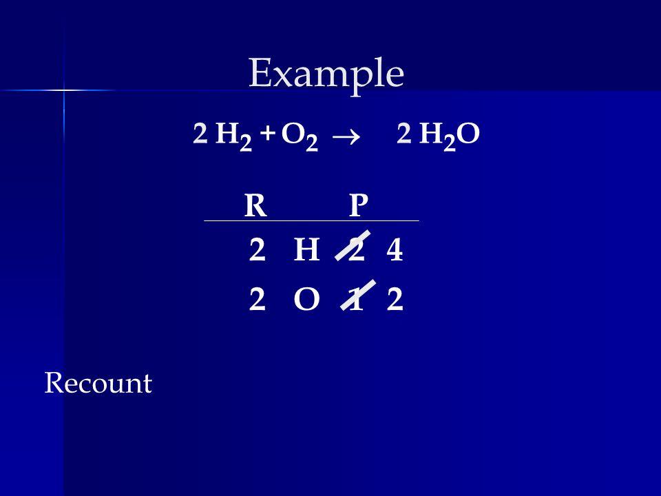 Example 2 H2 + O2 ® 2 H2O R P 2 H 2 4 2 O 1 2 Recount