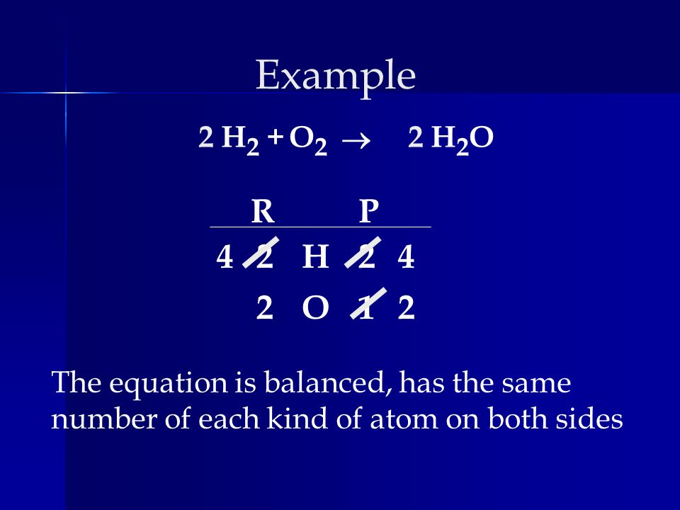 Example 2. H2 + O2. ® 2. H2O. R. P. 4. 2. H. 2. 4. 2. O. 1. 2. The equation is balanced, has the same.