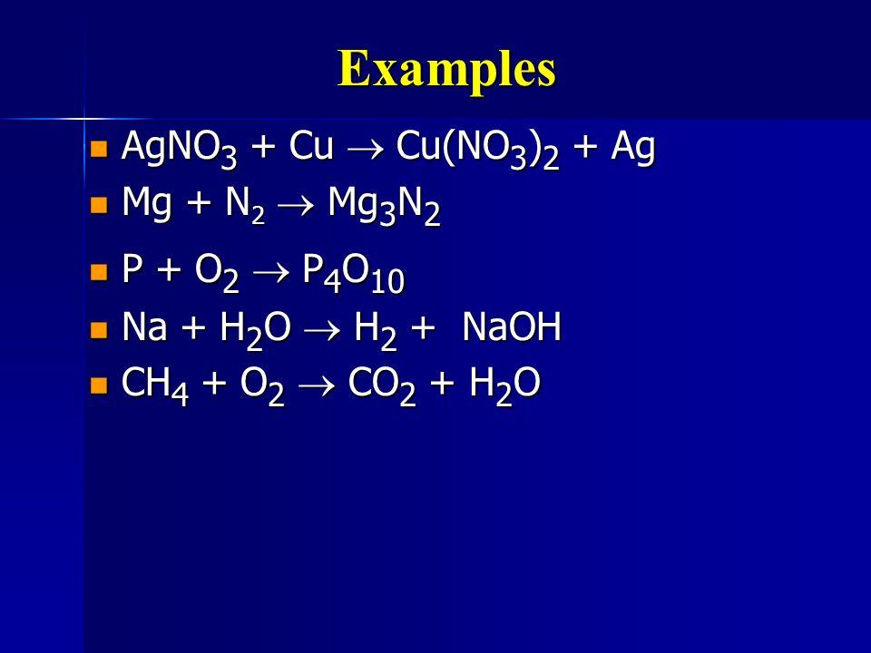 Examples AgNO3 + Cu ® Cu(NO3)2 + Ag Mg + N2 ® Mg3N2 P + O2 ® P4O10