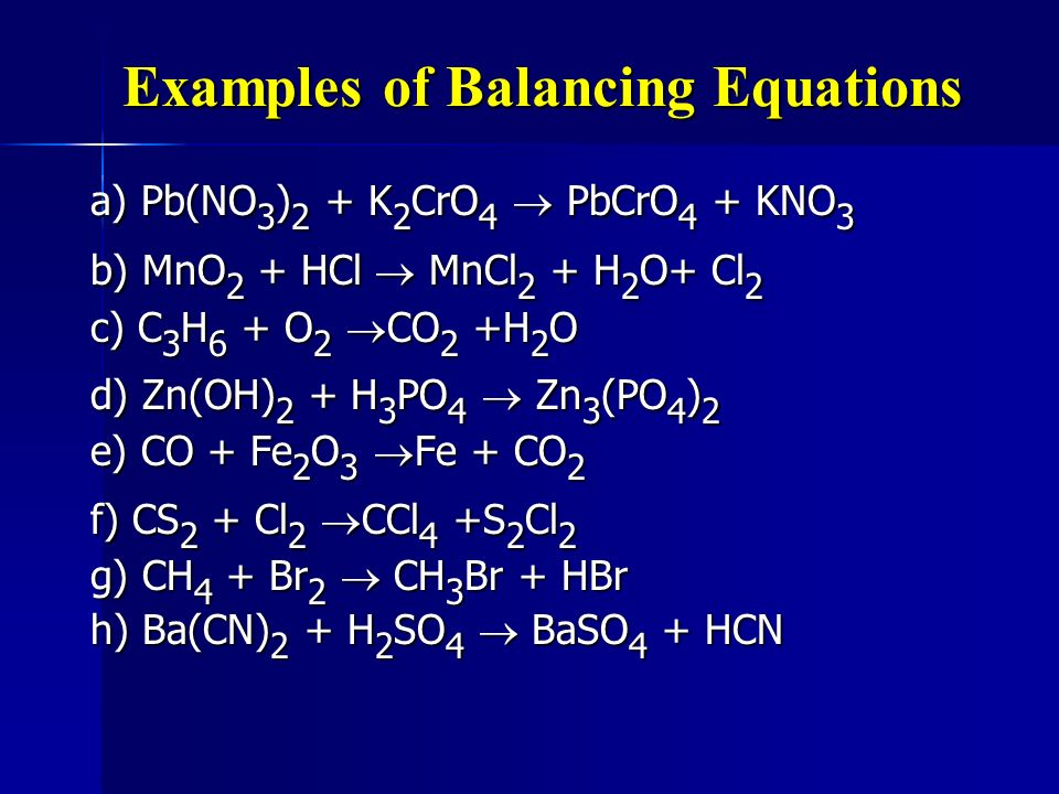 Examples of Balancing Equations