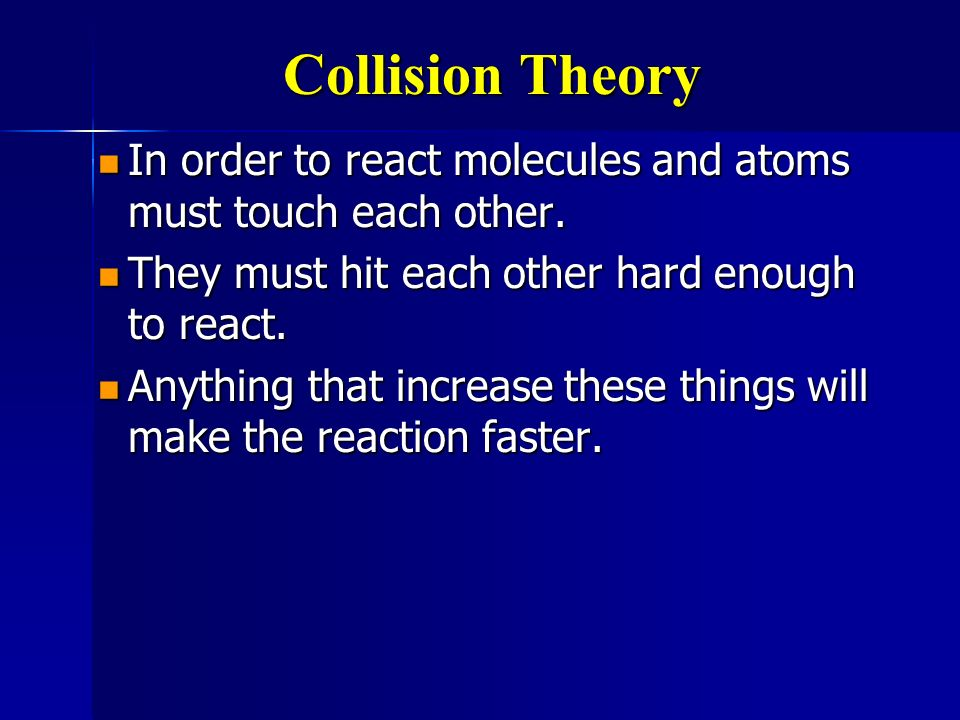 Collision Theory In order to react molecules and atoms must touch each other. They must hit each other hard enough to react.