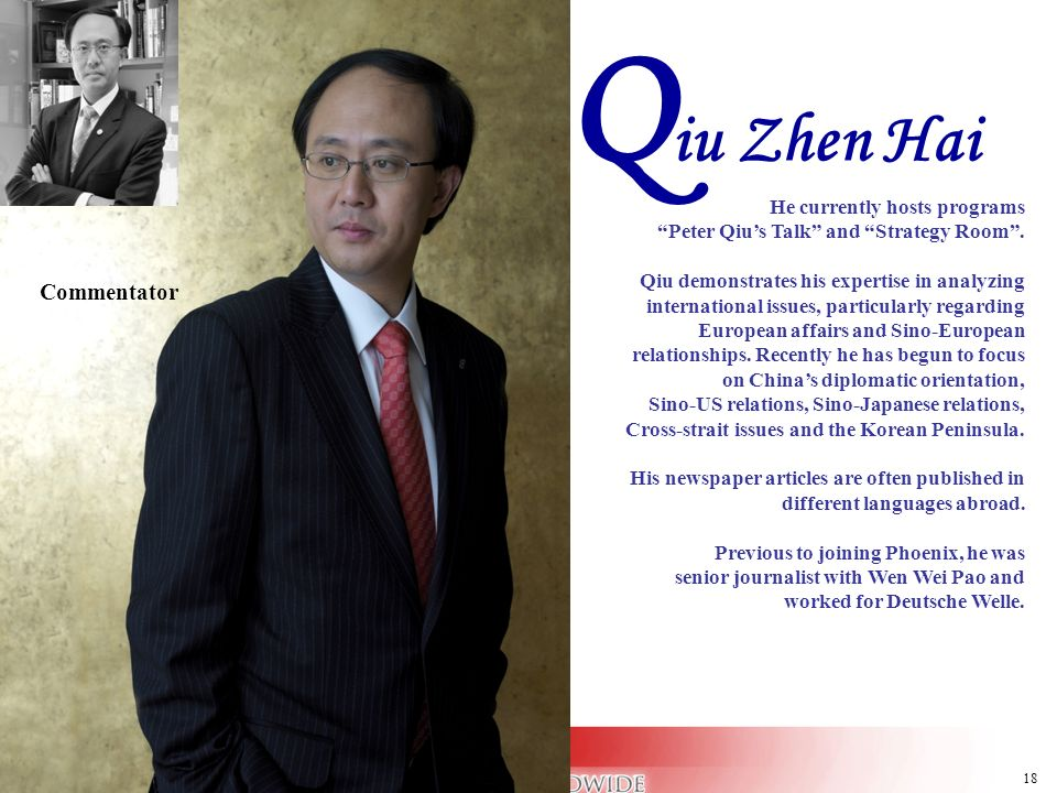 Qiu Zhen Hai Commentator He currently hosts programs
