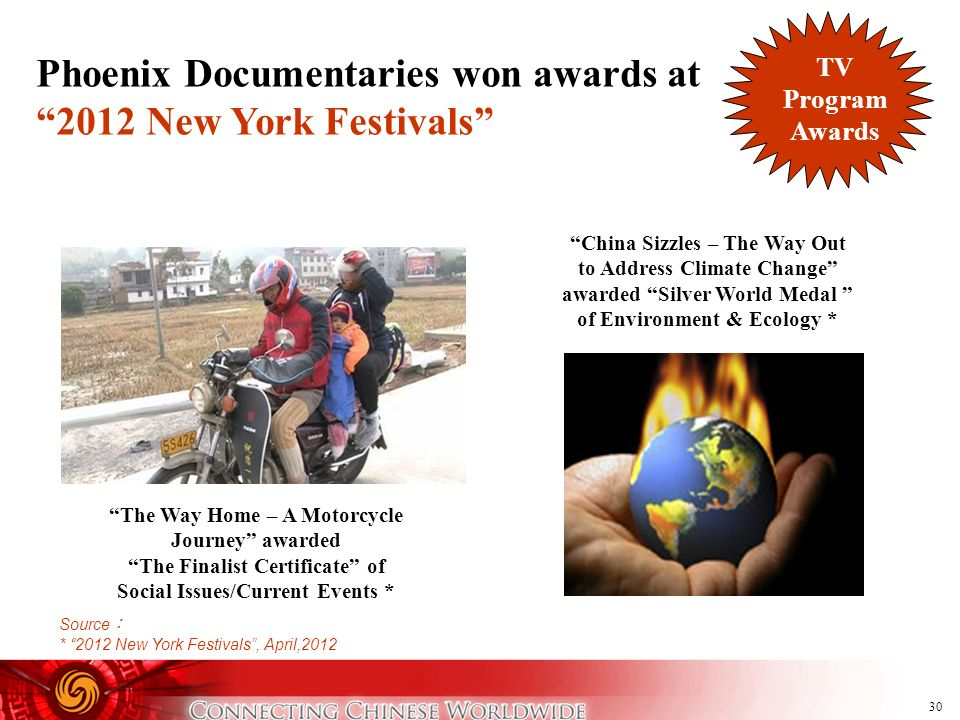 Phoenix Documentaries won awards at 2012 New York Festivals