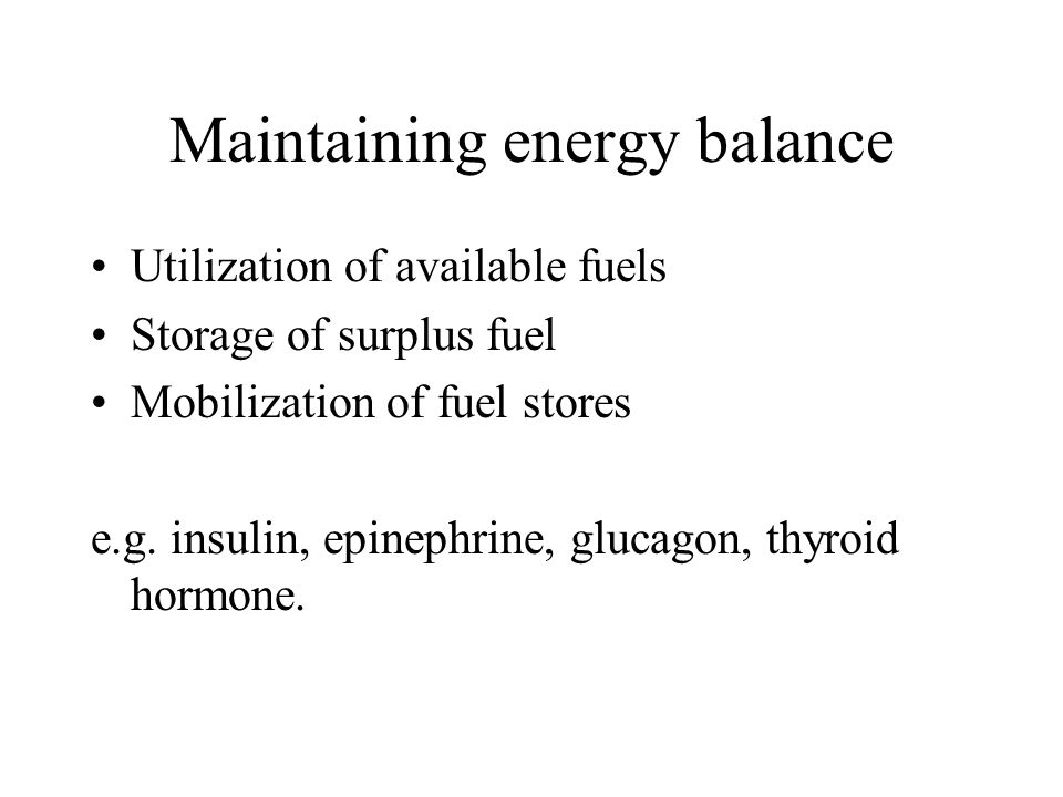 Maintaining energy balance