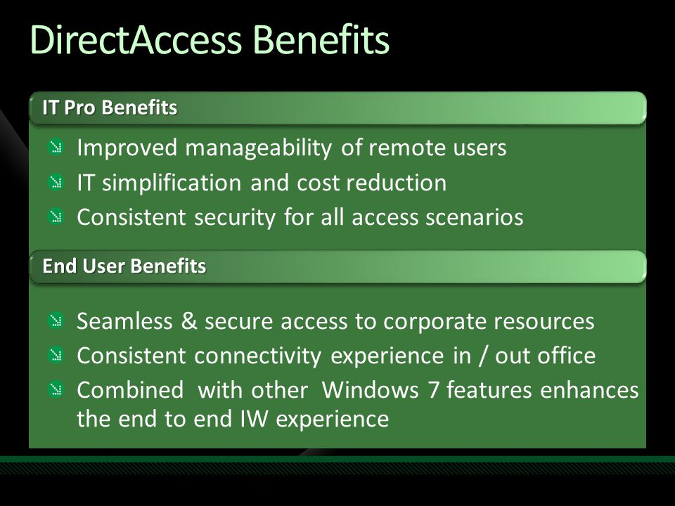 DirectAccess Benefits