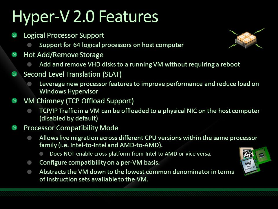 Hyper-V 2.0 Features Logical Processor Support Hot Add/Remove Storage