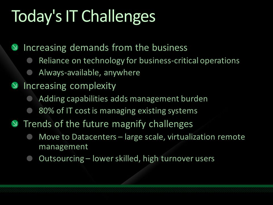 Today s IT Challenges Increasing demands from the business