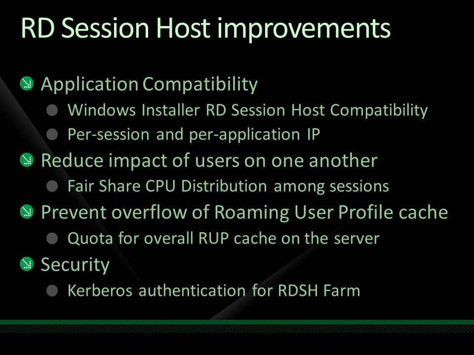 RD Session Host improvements