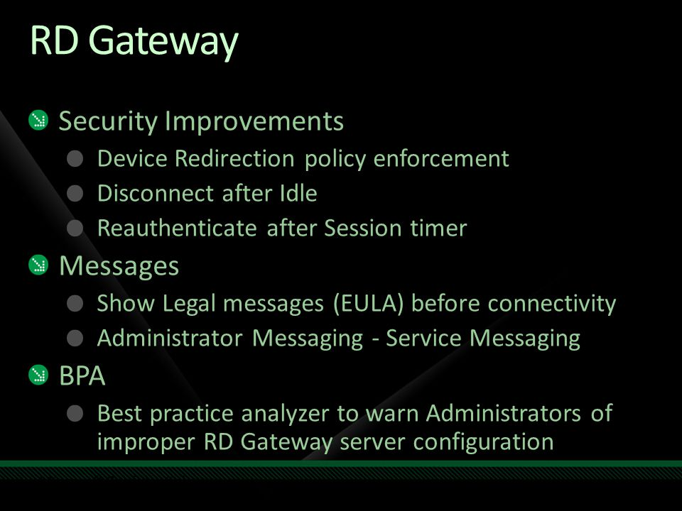 RD Gateway Security Improvements Messages BPA