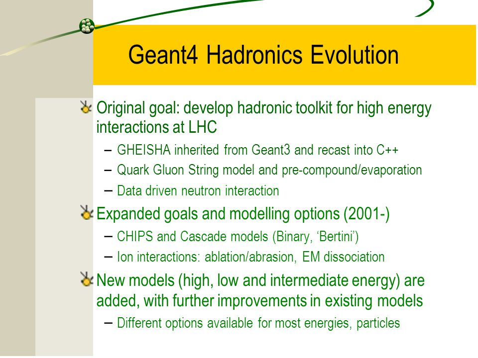 Geant4 Hadronics Evolution