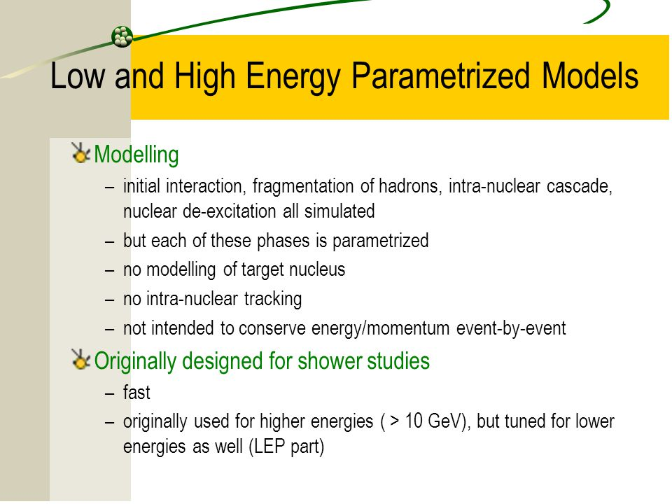 Low and High Energy Parametrized Models