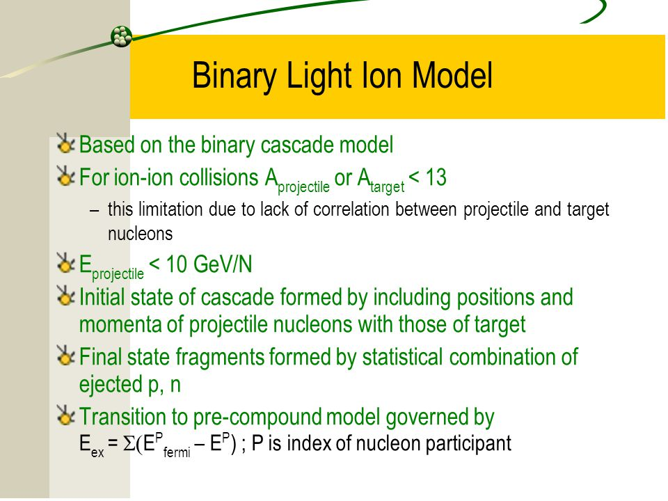 Binary Light Ion Model Based on the binary cascade model