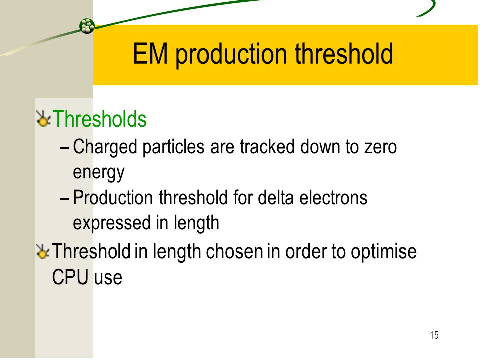 EM production threshold