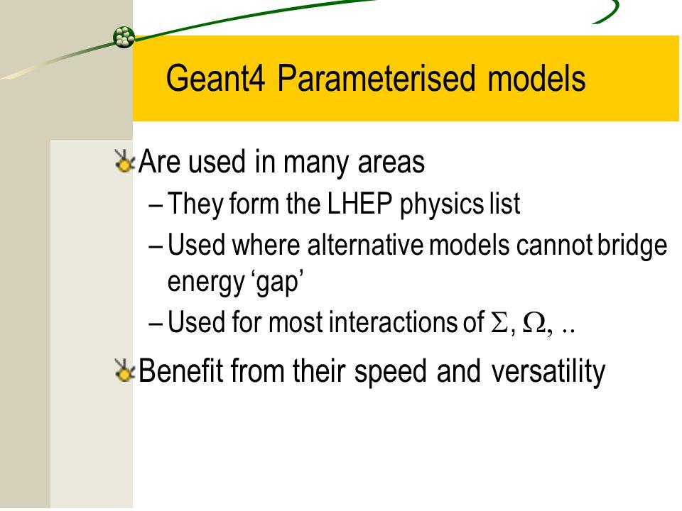 Geant4 Parameterised models