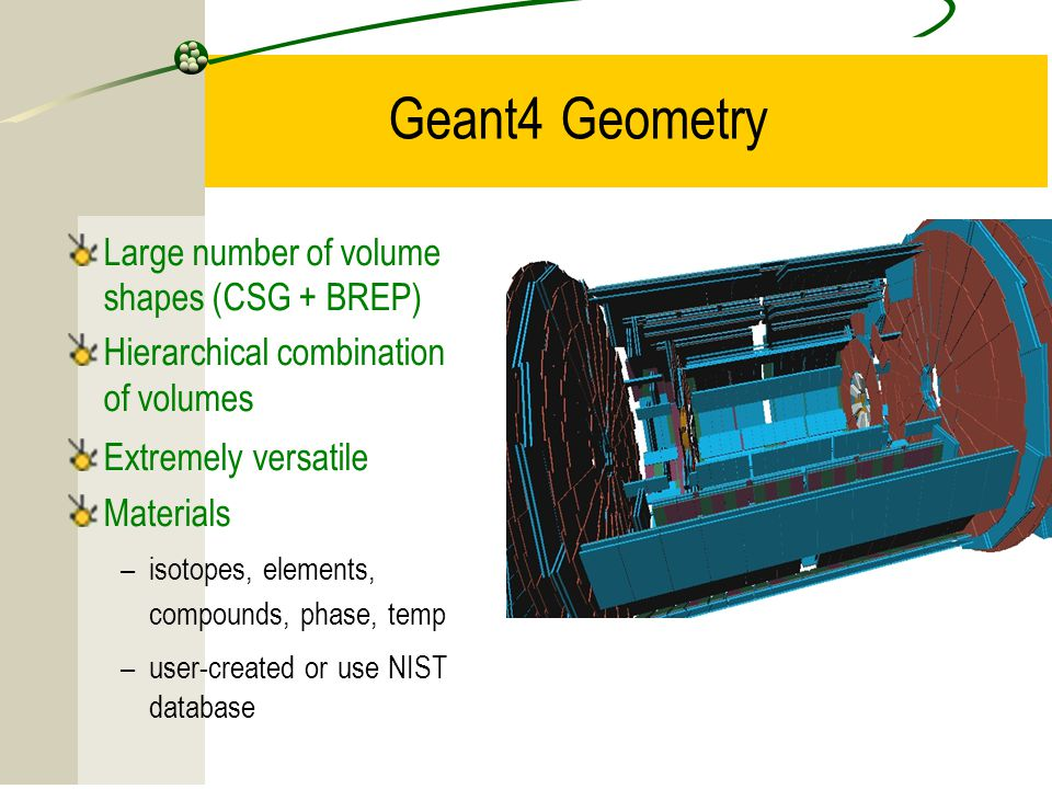 Geant4 Geometry Large number of volume shapes (CSG + BREP)