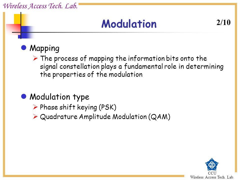 Modulation 2/10 Mapping Modulation type