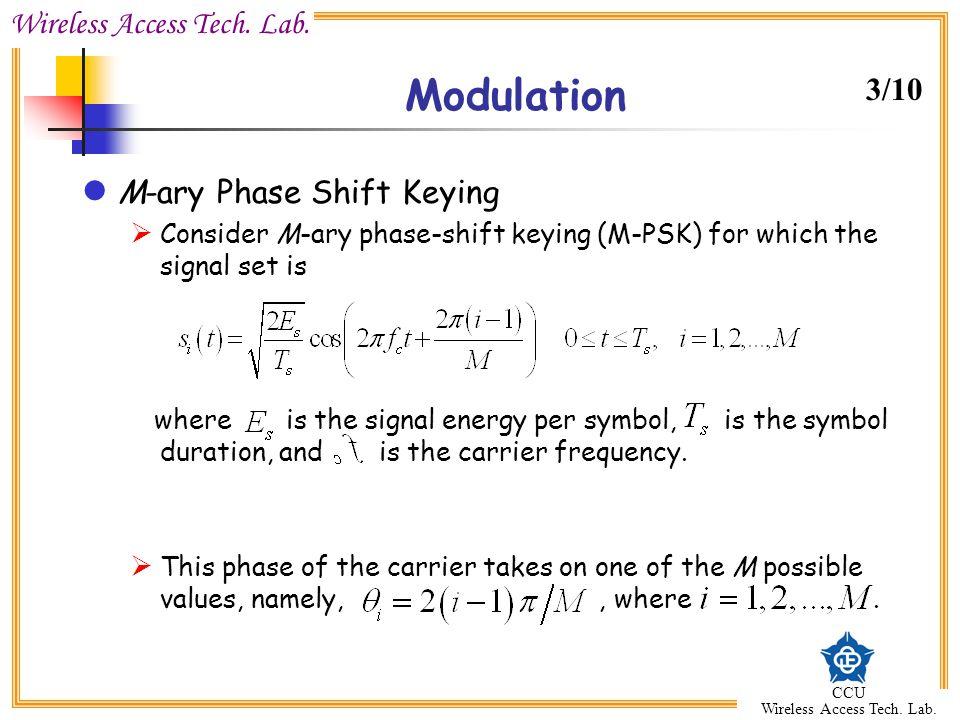 Modulation 3/10 M-ary Phase Shift Keying