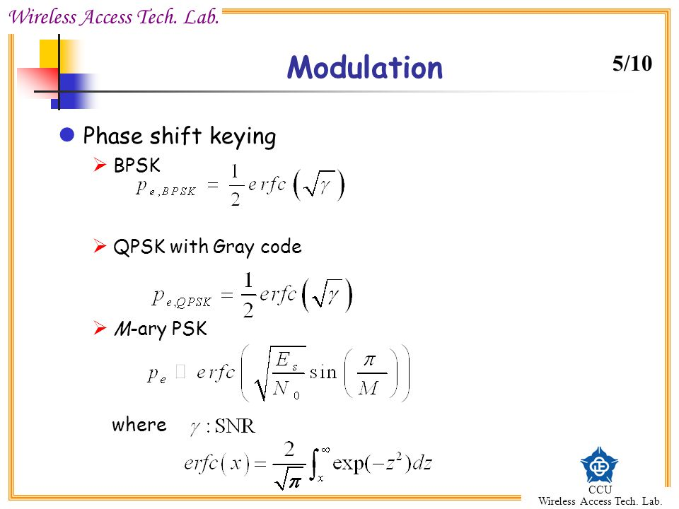 Modulation 5/10 Phase shift keying where BPSK QPSK with Gray code