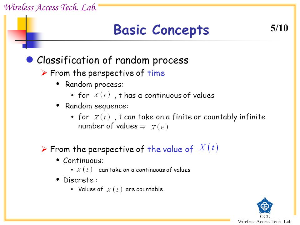 Basic Concepts 5/10 Classification of random process