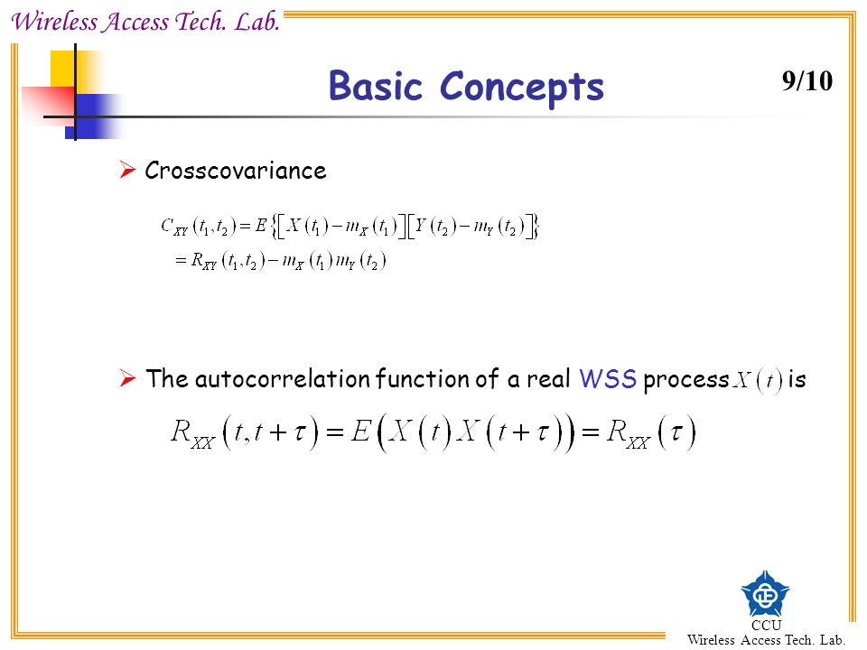 Basic Concepts 9/10 Crosscovariance