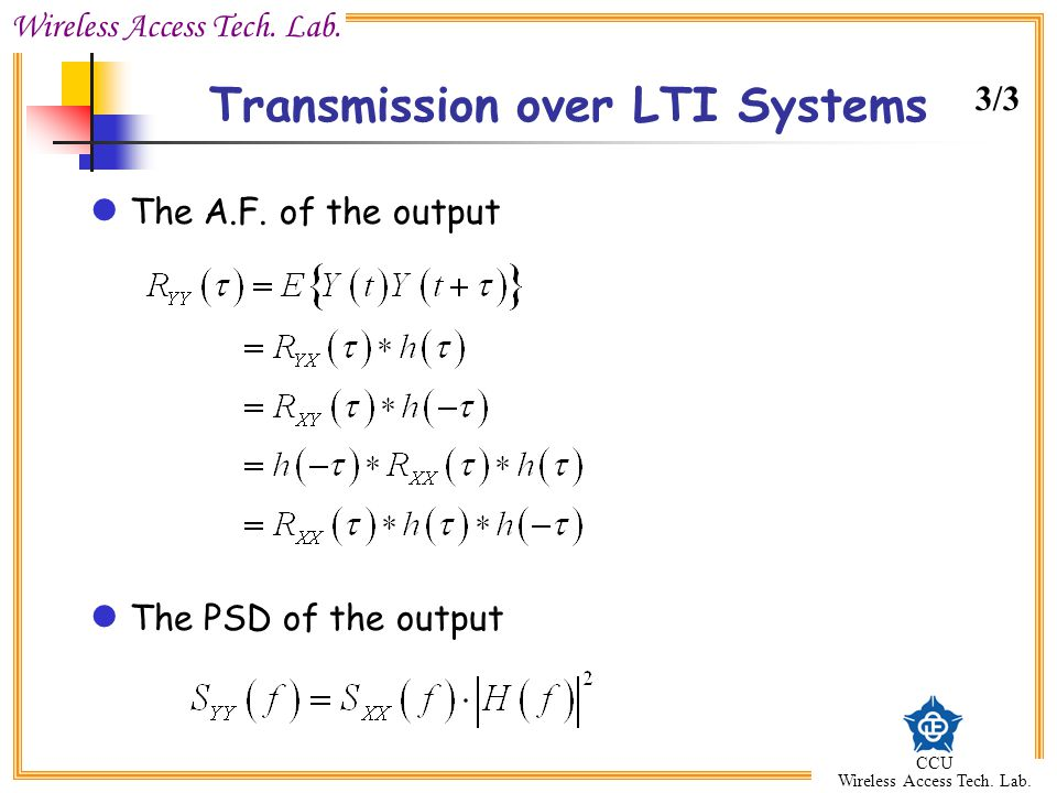 Transmission over LTI Systems