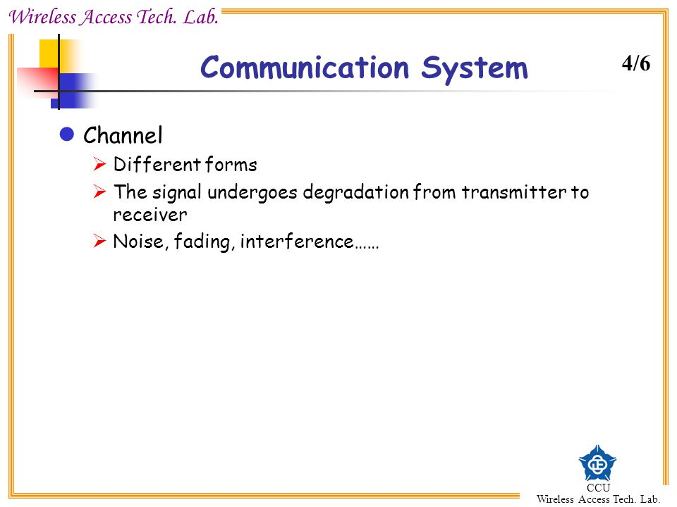 Communication System 4/6 Channel Different forms