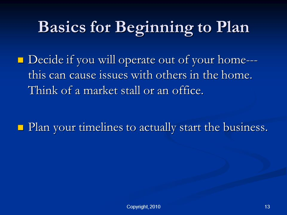 Basics for Beginning to Plan
