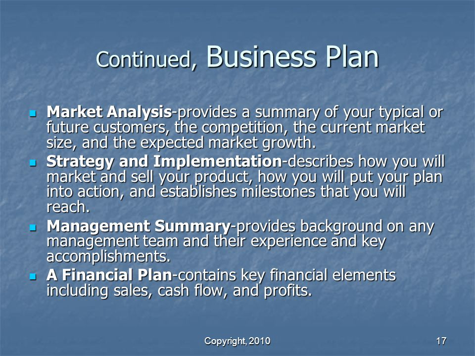 Continued, Business Plan