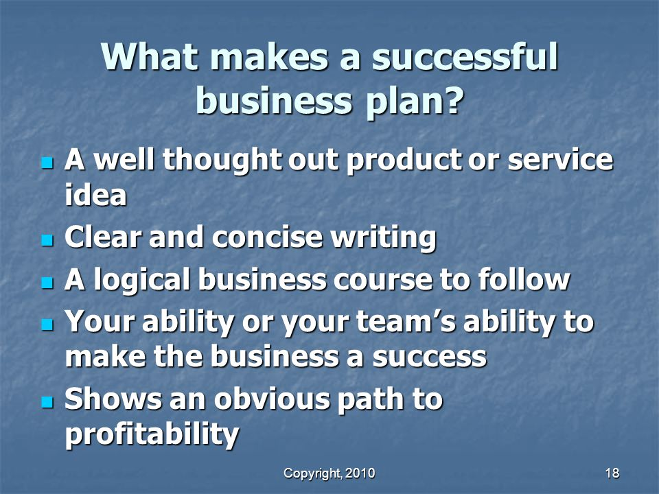 What makes a successful business plan