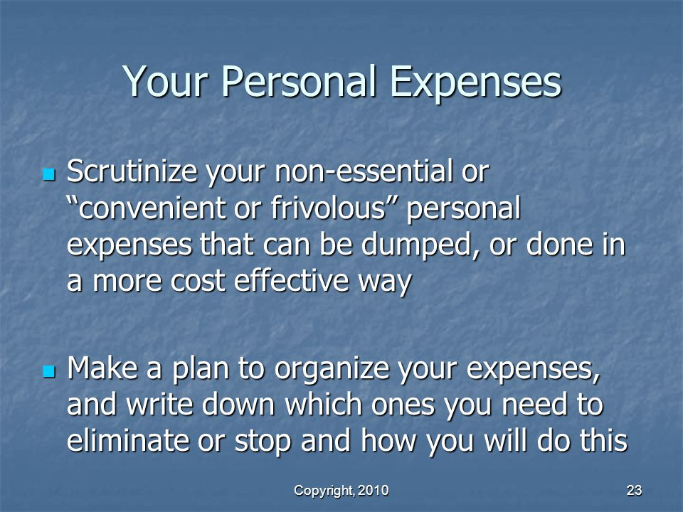 Your Personal Expenses