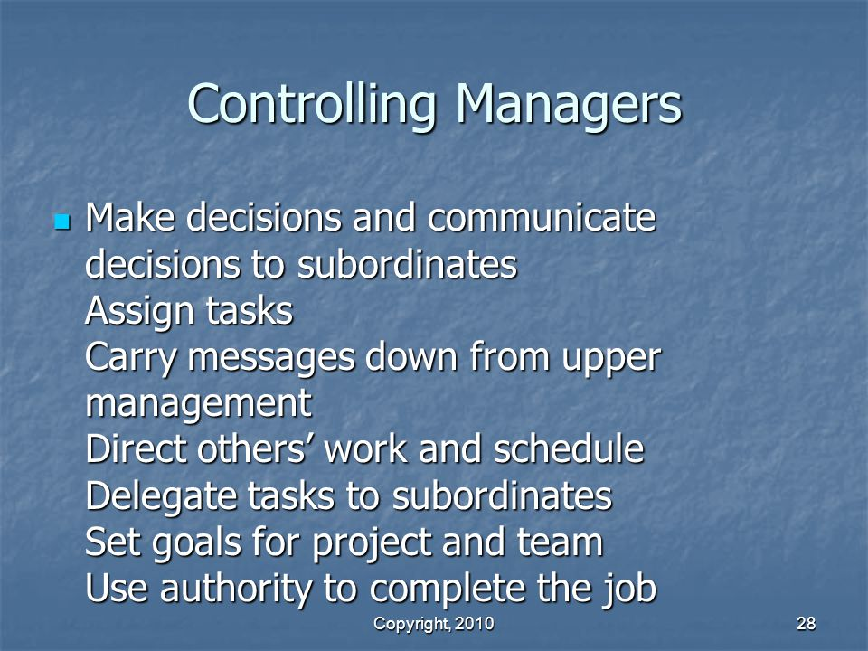 Controlling Managers