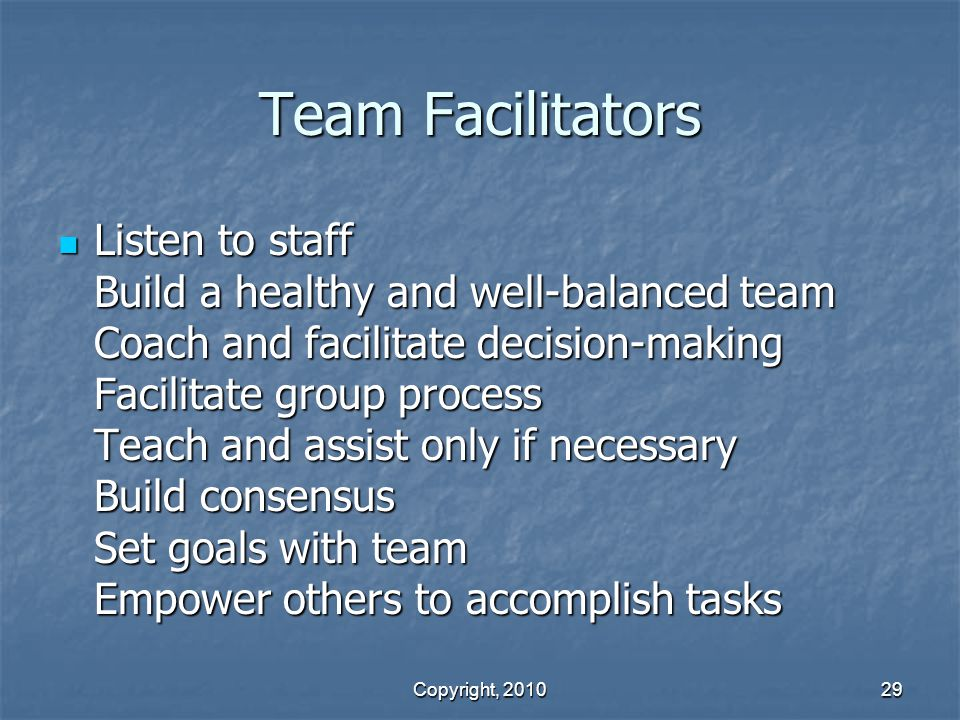 Team Facilitators