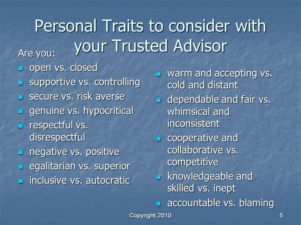 Personal Traits to consider with your Trusted Advisor