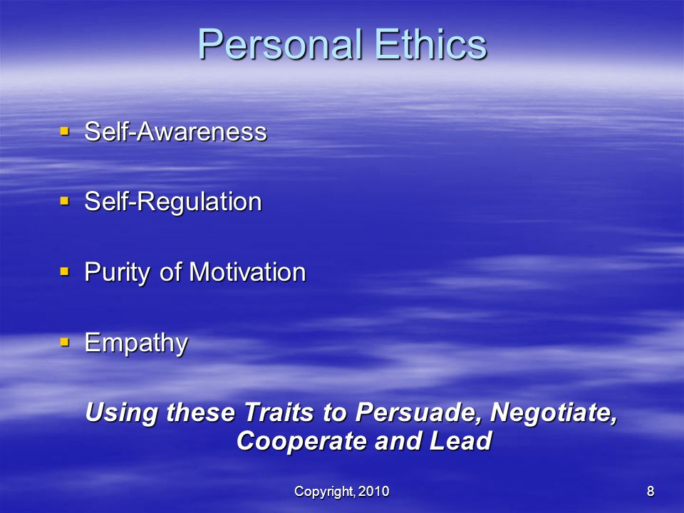 Using these Traits to Persuade, Negotiate, Cooperate and Lead