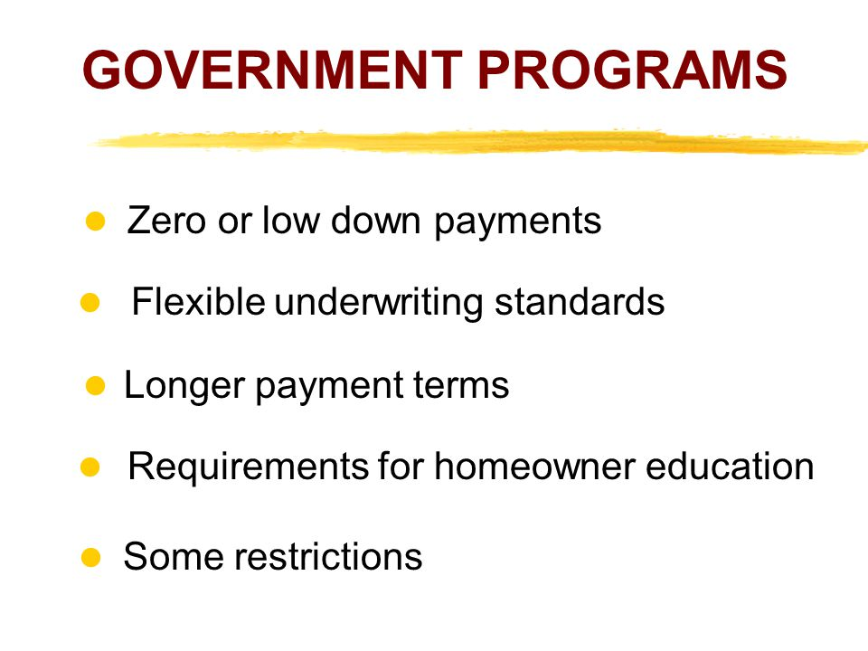 GOVERNMENT PROGRAMS  Zero or low down payments l Flexible underwriting standards.