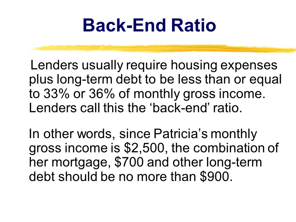 Back-End Ratio