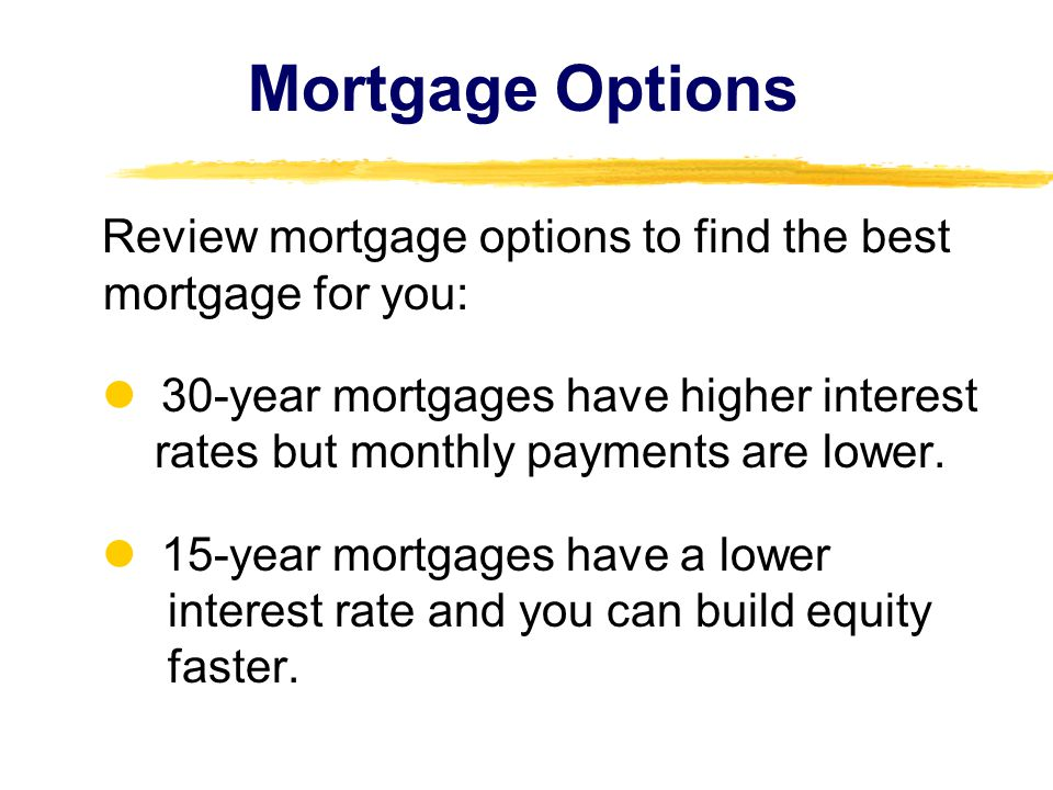 Mortgage Options Review mortgage options to find the best mortgage for you: