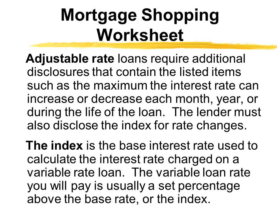 Mortgage Shopping Worksheet