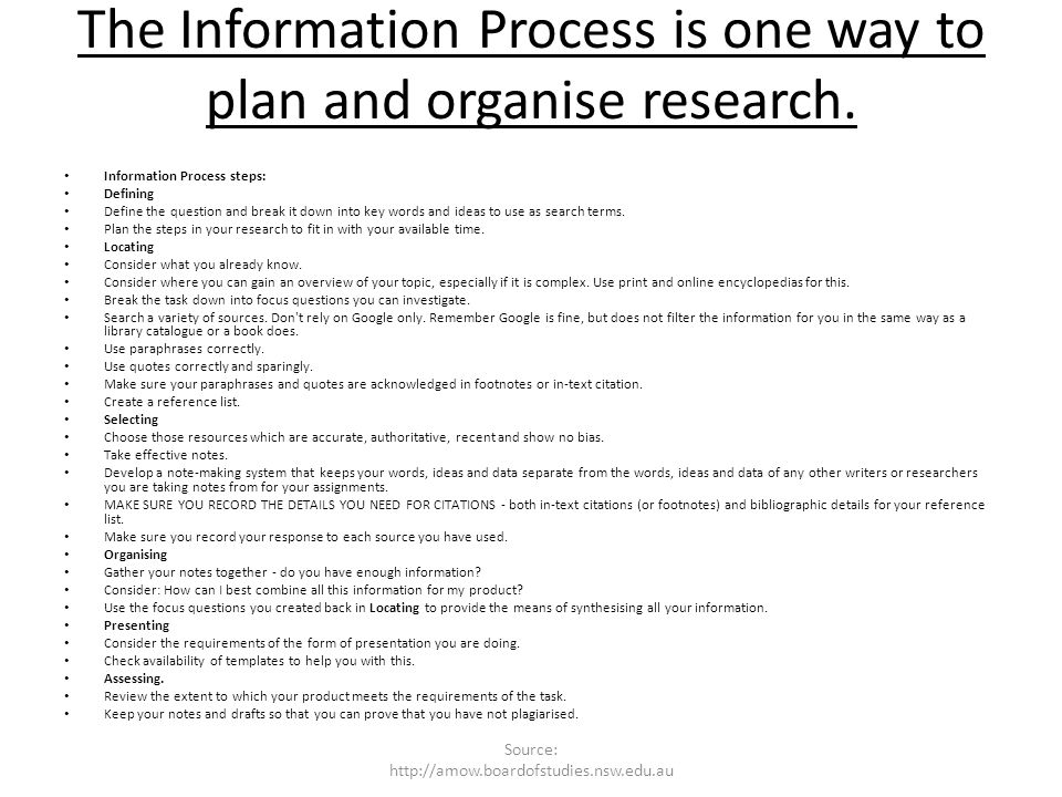 The Information Process is one way to plan and organise research.