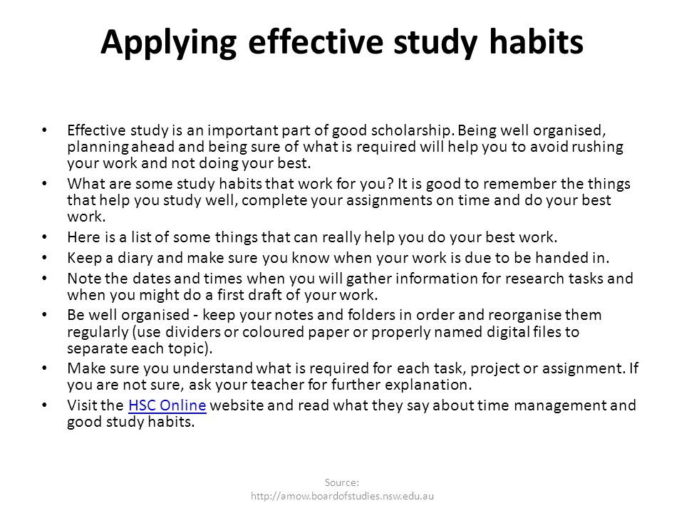 Applying effective study habits