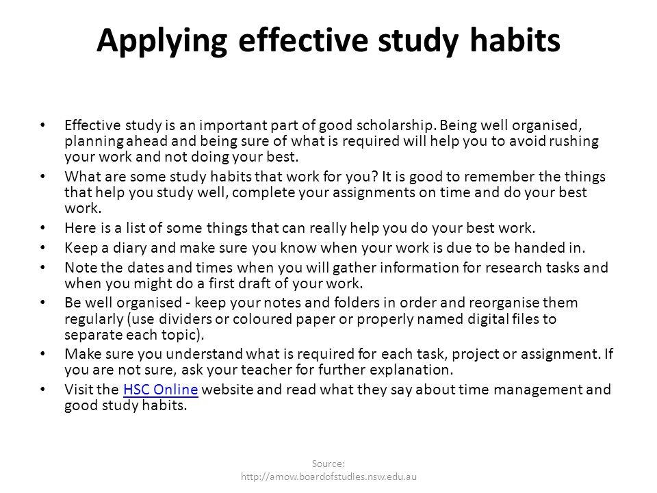 Applying effective study habits