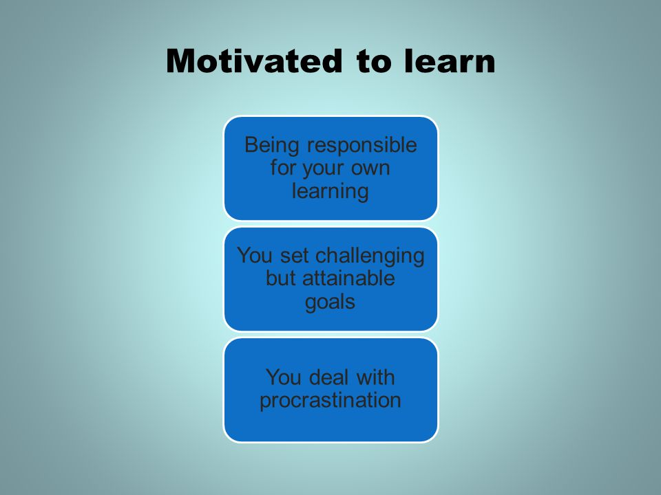 Motivated to learn Being responsible for your own learning