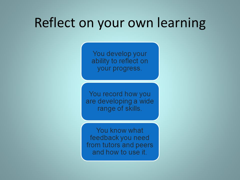 Reflect on your own learning