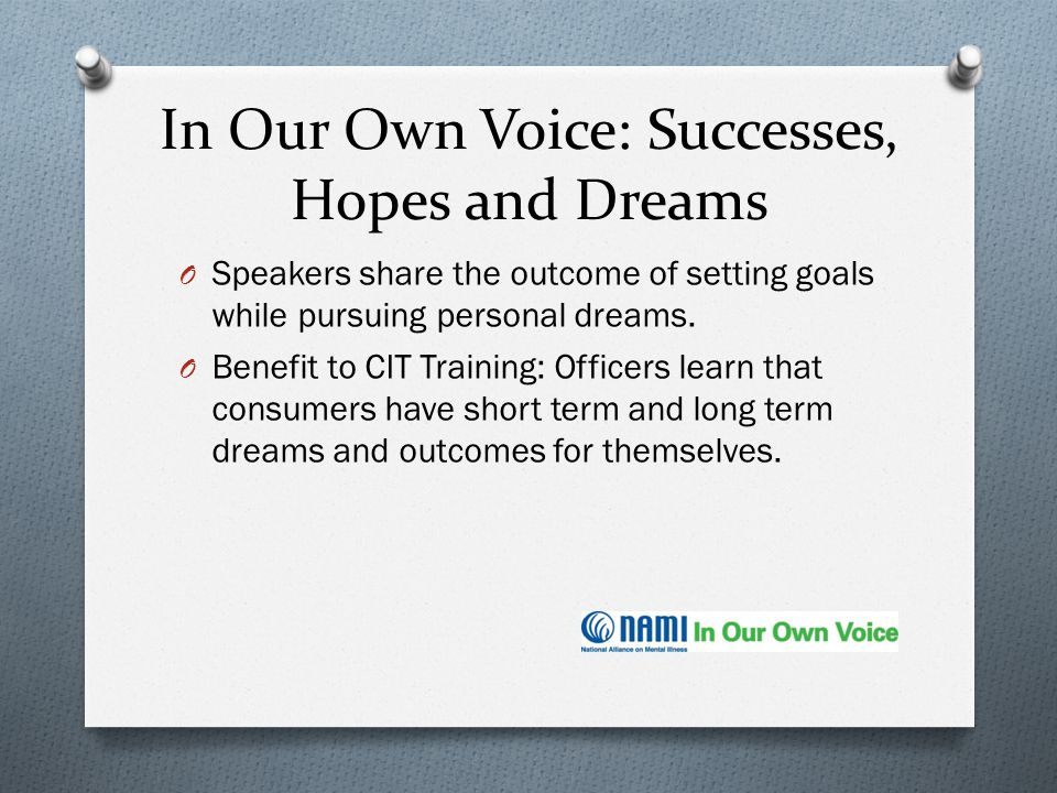 In Our Own Voice: Successes, Hopes and Dreams