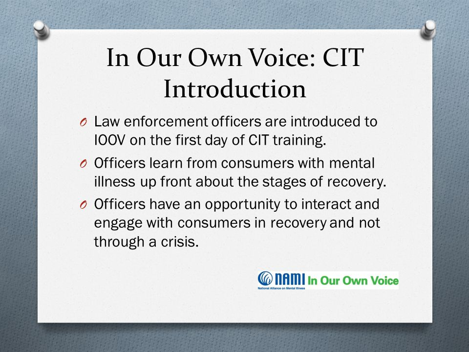 In Our Own Voice: CIT Introduction